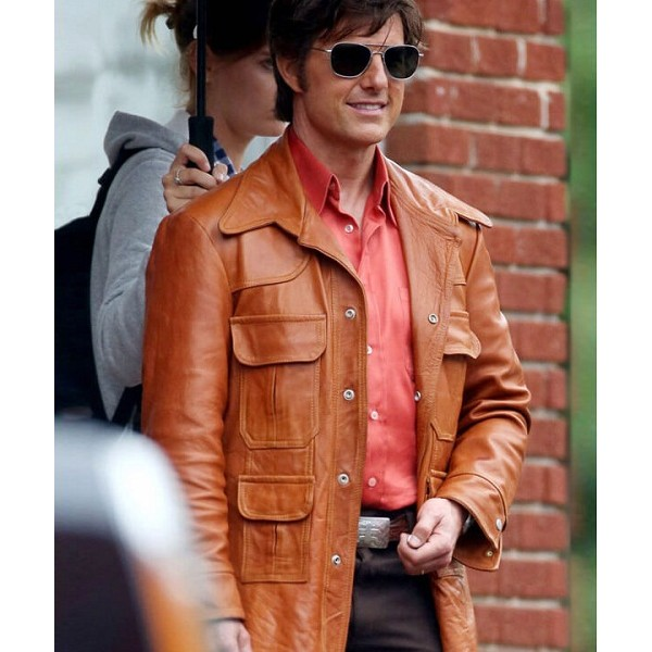 American Made Tom Cruise Light Brown Leather Jacket