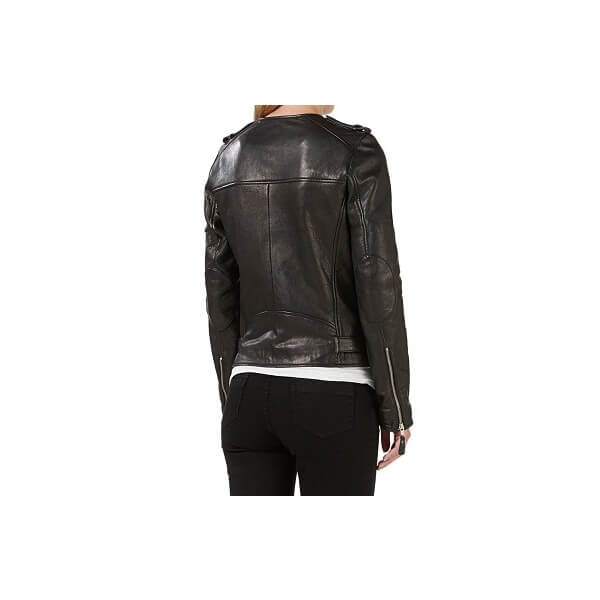 LC Black Collarless Leather Jacket