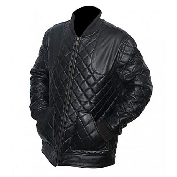 Black Quilted David Beckham Winter Leather Jacket