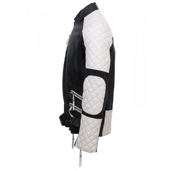 Black & White Leather Jacket for Men