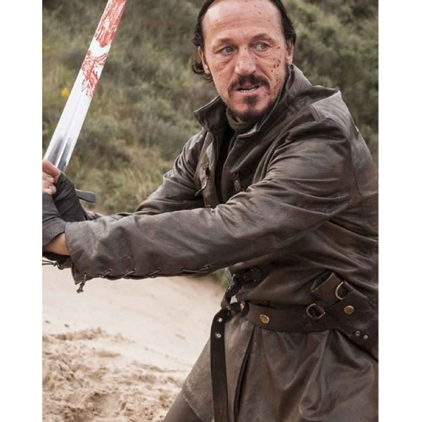 Bronn Belted Clasp Front Closure Leather Jacket from GoT