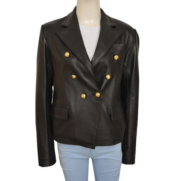 Button Detailing Kim Kardashian Leather Jacket