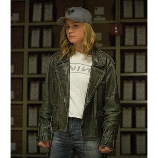Captain Marvel Carol Danvers Biker Leather Jacket