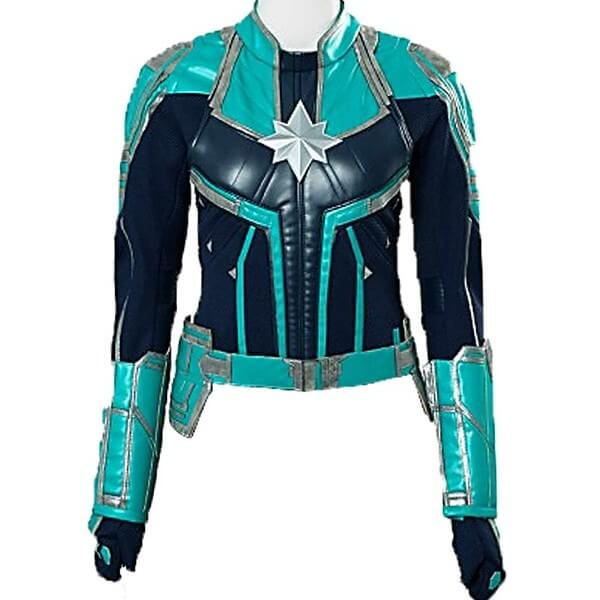 Carol Danvers Leather Jacket Turquoise Green Captain Marvel