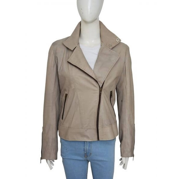 Chloe Decker Notch Lapel Gray Leather Jacket