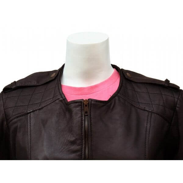 Collarless Fashionista Women's Leather Jacket