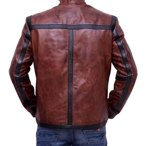 Dan Espinoza Distressed Brown Leather Jacket from Lucifer