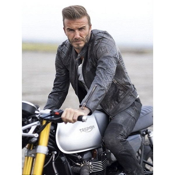 David Beckham Hot Black Biker Leather Jacket