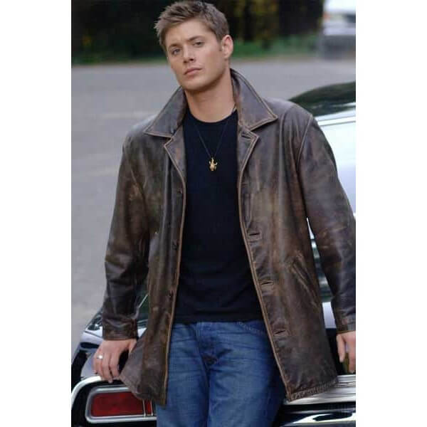 Dean Winchester Supernatural Distressed Brown Trench Leather Coat