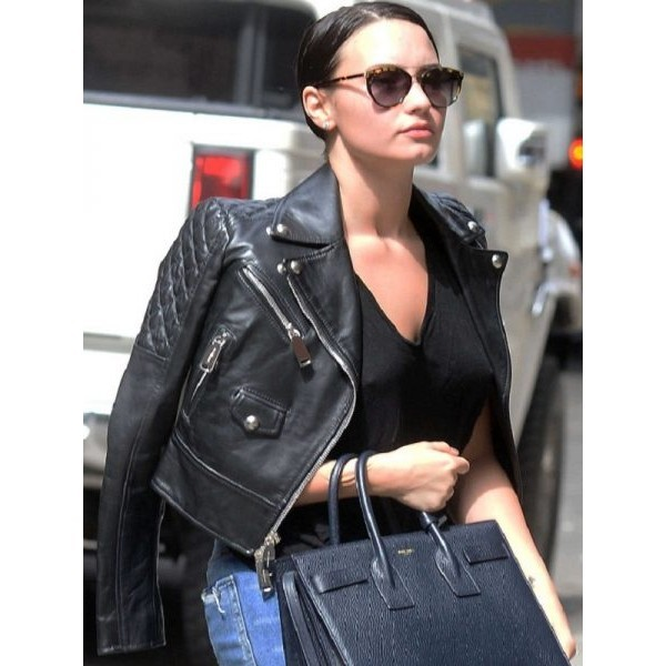 Demi Lovato - Stylish Women's Black Biker Leather Jacket