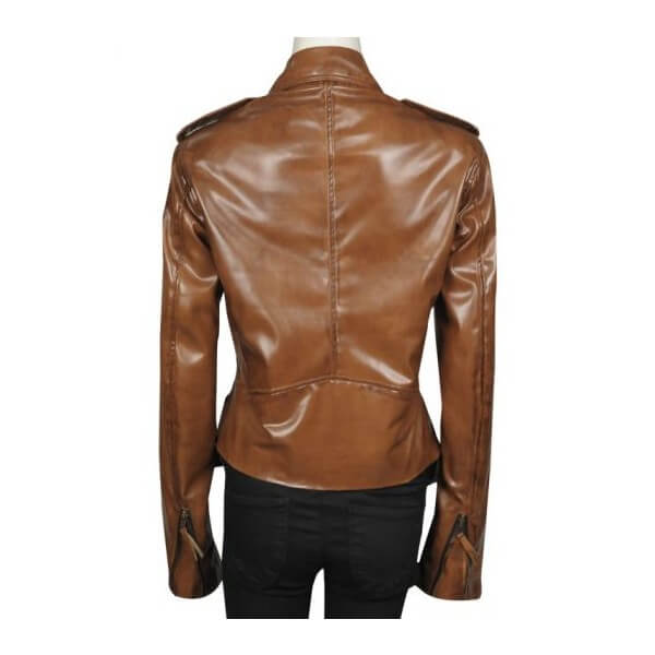 Designer Brown Kim Kardashian Leather Jacket