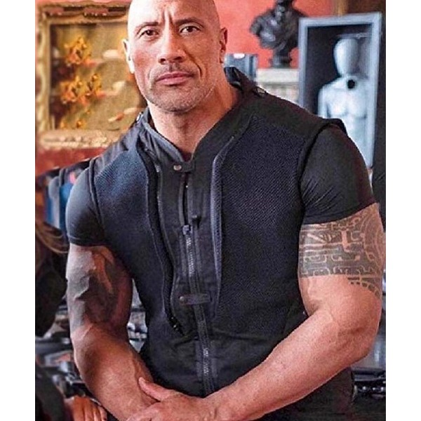 Dwayne Johnson Leather Vest Black from Fast & Furious: Hobbs and Shaw