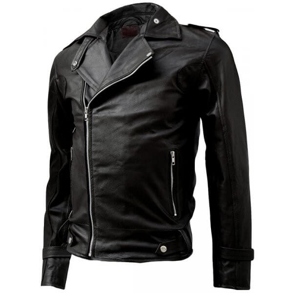 Fashionable Men's Biker Leather Jacket Black