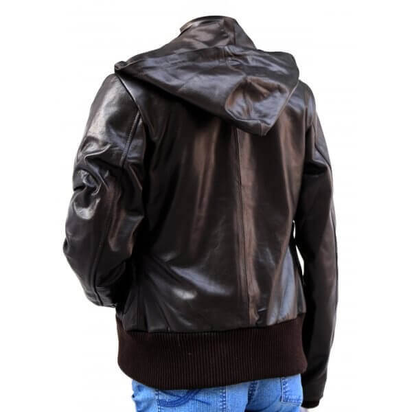 Glossy Hooded Bomber Leather Jacket For Women