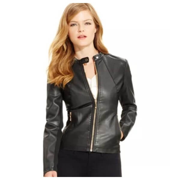 Ivanka Trump Style Biker Leather Jacket for Women