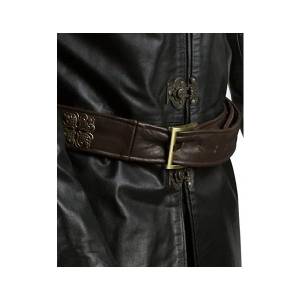 Jaime Lannister Embellished Clasp Closure Leather Coat