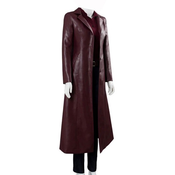 Jean Grey Burgundy Leather Coat from X Men Dark Phoenix