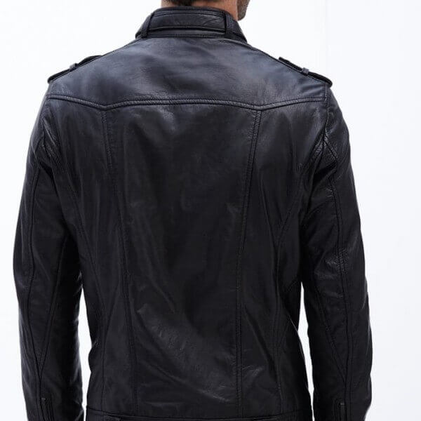 LC Garment Washed Moto Black Leather Jacket