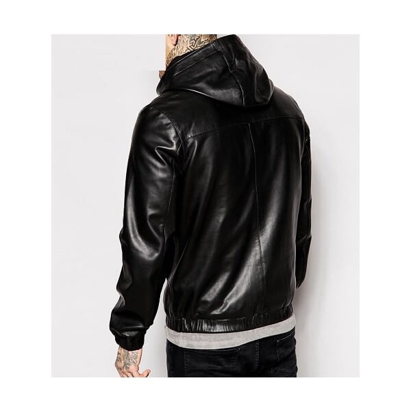 LC Leather Hooded Bomber Jacket
