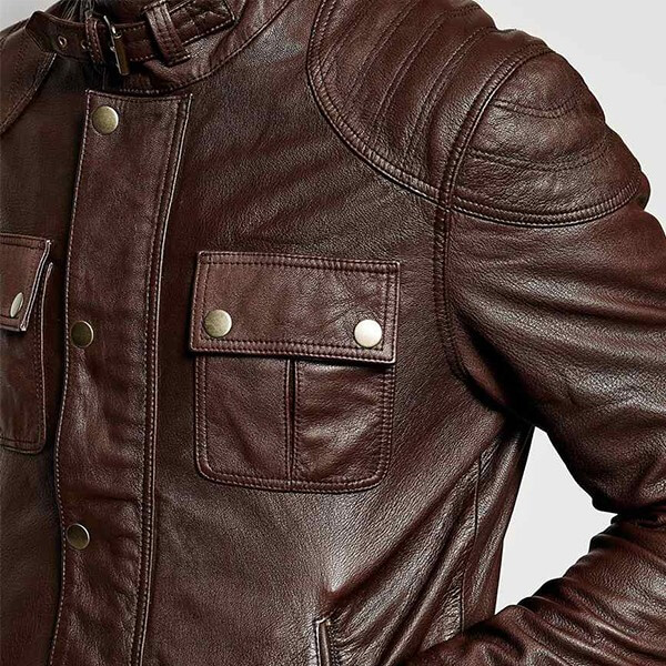 LC Brown Leather Jacket for Men with Chest Pocket
