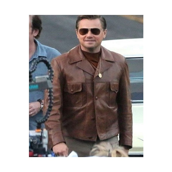 Leonardo DiCaprio Chocolate Brown Leather Jacket from Once Upon A Time In Hollywood