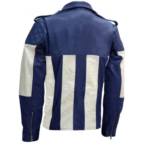 Men's Biker Leather Jacket Blue & White