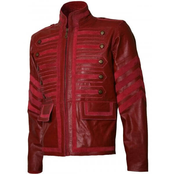 Men's Biker Military Style Leather Jacket Maroon