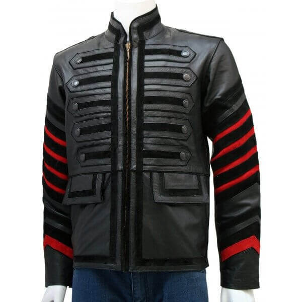 Men's Military Leather Jacket Black