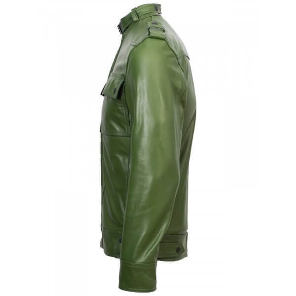 Men's Slim Fit Biker Jacket Green