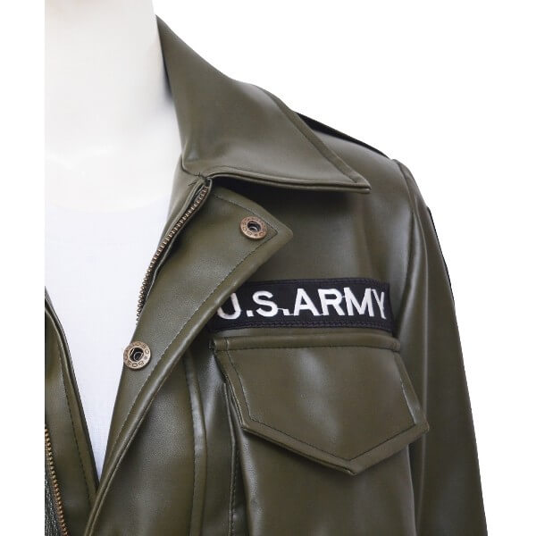 Modern Army Style Kim Kardashian Green Leather Jacket