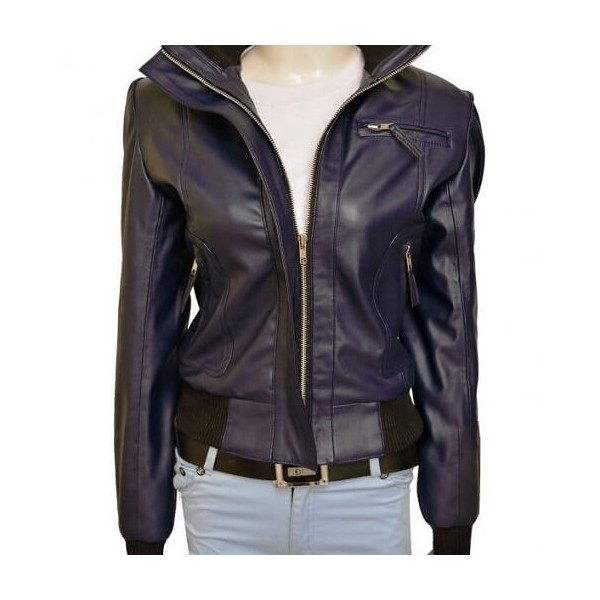 Rose Tyler Stylish Purple Leather Jacket from Doctor Who