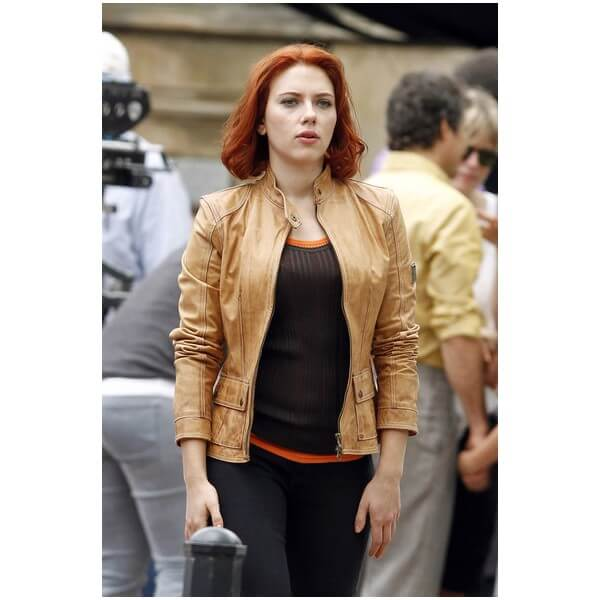 Scarlett Johansson Avengers Series Light Brown Leather Jacket