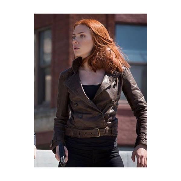 Scarlett Johansson Captain America 2 Sassy Leather Jacket