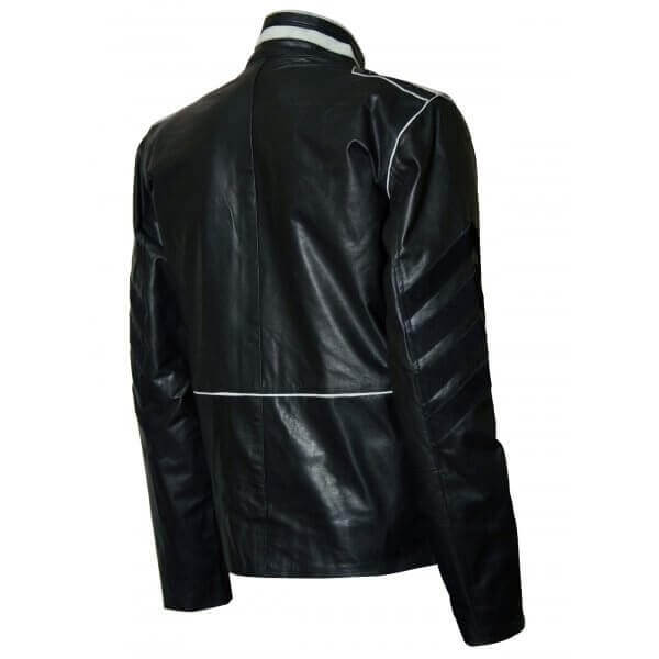 Slim Fit Military Men Leather Jacket Black & White