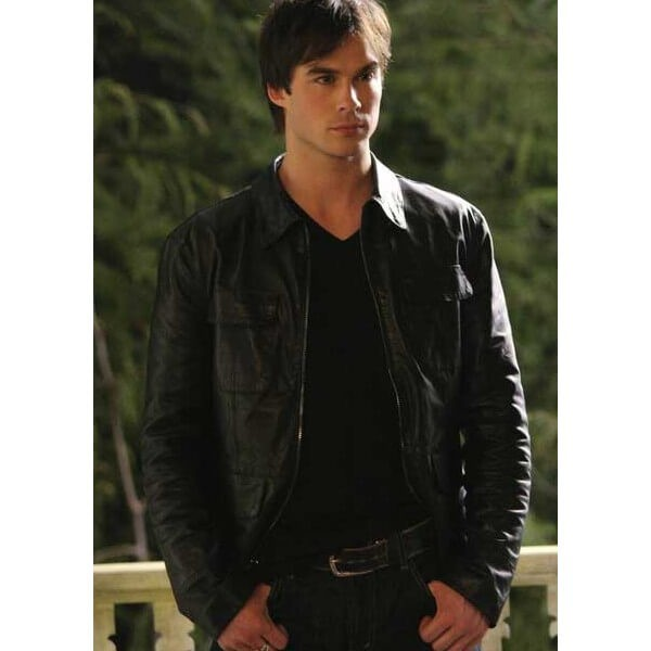 Stylish Black Leather Jacket from Vampire Diaries
