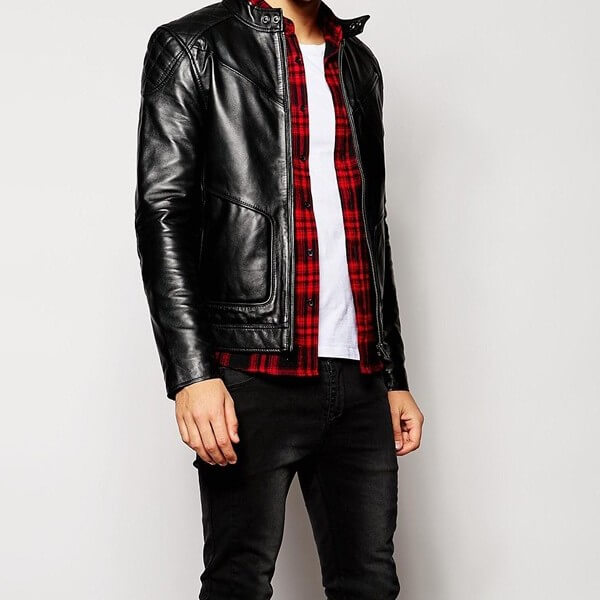 LC Leather Shoulder Patch Black Biker Jacket