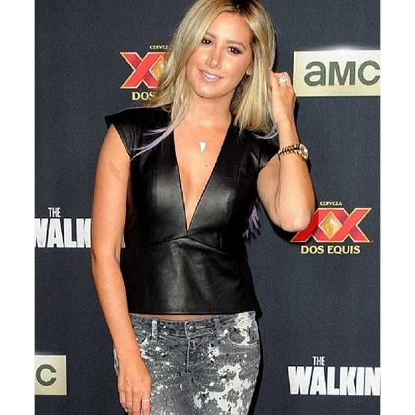Summer Wear: Ashley Tisdale Leather Vest