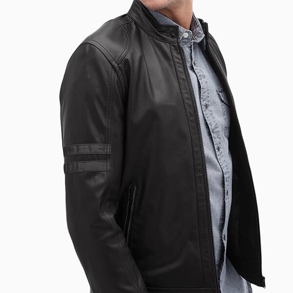 LC Textured Leather Moto Jacket For Men