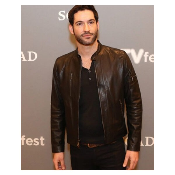 Tom Ellis Chocolate Brown Leather Jacket from Lucifer