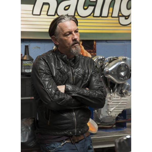 Tommy Flanagan Black Leather Jacket Sons of Anarchy