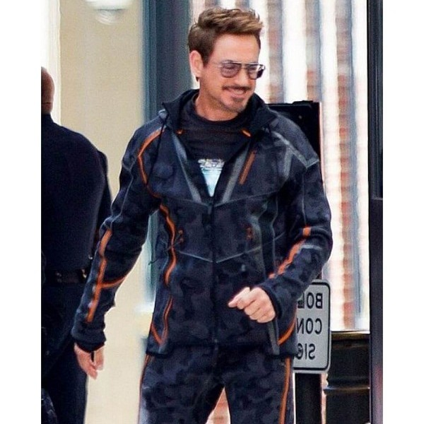 Tony Stark Black & Orange Leather Jacket Avengers Infinity War