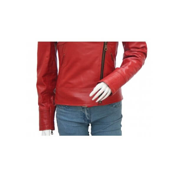 Women's Vibrant Red Fashion Leather Jacket